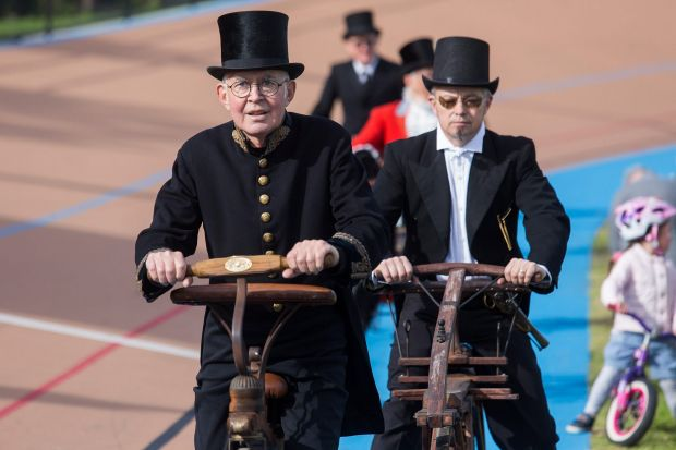 Finely attired for the Penny Farthing race at Brunswick Velodrome.