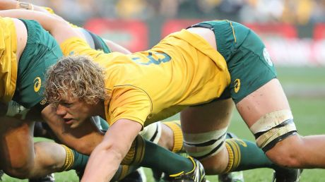 Ned Hanigan packs down in a scrum during his Wallabies debut against Fiji.