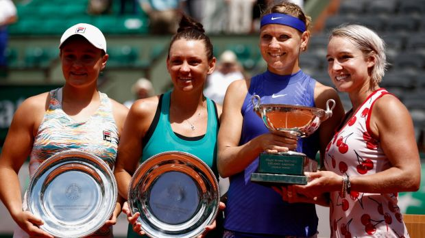 All smiles: (L-R) runners-up Ashleigh Barty and Casey Dellacqua, with winners Lucie Safarova and Bethanie Mattek-Sands.
