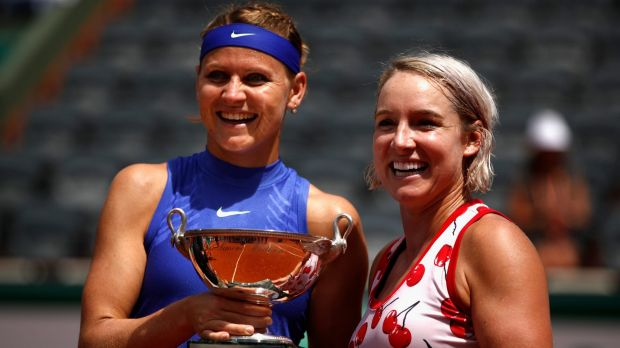 Women's doubles winners: Lucie Safarova of The Czech Republic (L) and partner Bethanie Mattek-Sands of The United States (R).