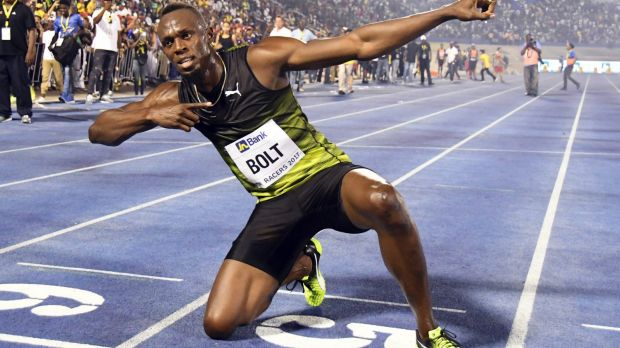 """Usain Bolt celebrates after winning the """"Salute to a Legend """" 100 metres."""