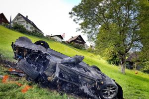 The burnt out wreckage of Hammond's car.