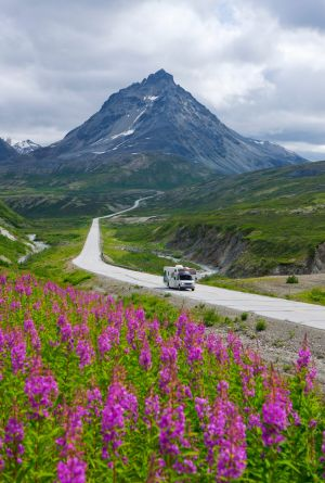 Travelling by RV, the most practical means of exploring the Yukon, along the Alaska Highway.