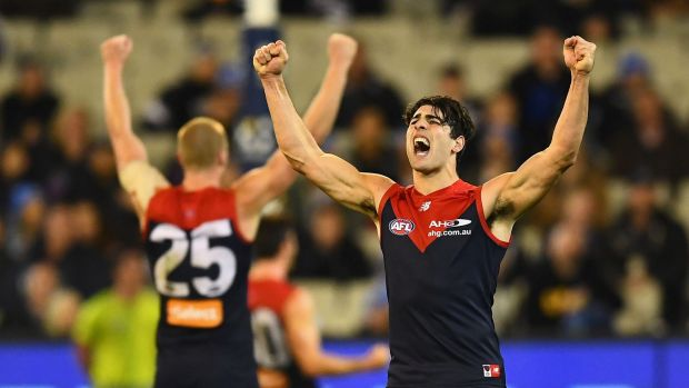 Tom McDonald and Christian Petracca celebrate winning the Queen's Birthday stunner.