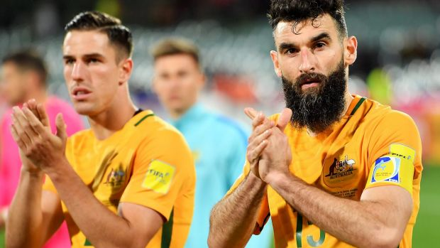 Niggling injury: Mile Jedinak (r).