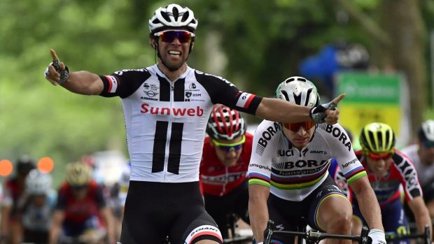 Australian Michael Matthews (Team Sunweb) celebrates his win in the third stage of the Tour of Switzerland.