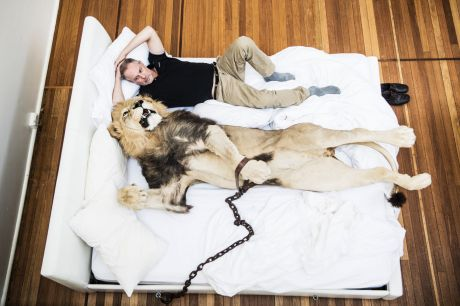 Artist Rod McRae in bed with a lion, which features in his exhibition Wunderkammer.