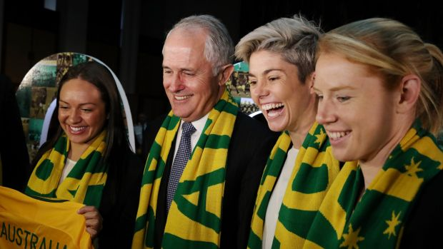 Prime Minister Malcolm Turnbull with Matildas Kyah Simon, Michelle Heyman and Clare Polkinghorne at Parliament House for ...