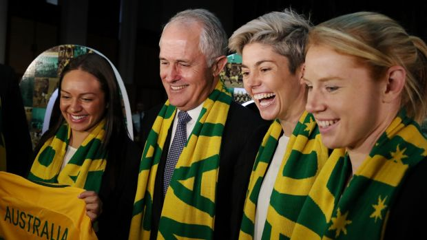 Matildas striker Michelle Heyman, second from the right, could play a World Cup game at Canberra Stadium.