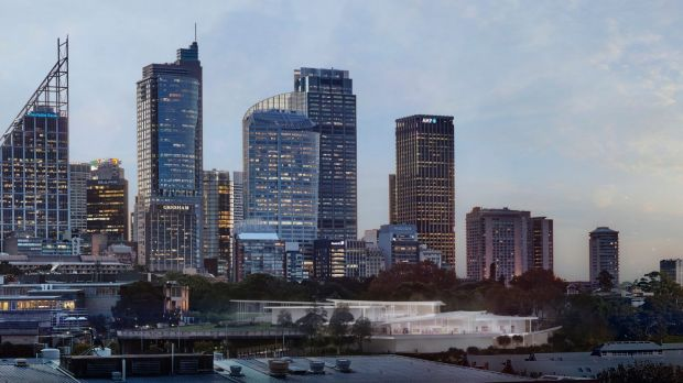 An artist's impression of Sydney Modern Project shows a dusk view from Woolloomooloo.