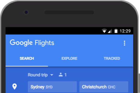 Details offered in search results include price, airline, duration and stopovers.