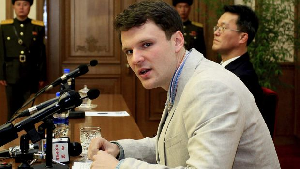 Otto Warmbier speaks at his trial in February 2016.