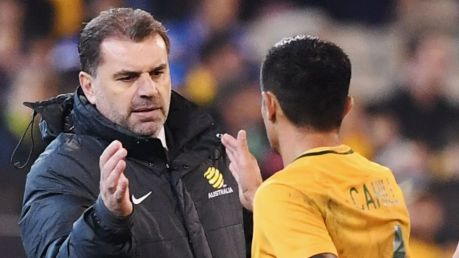 Close union: Ange Postecoglou and Tim Cahill.