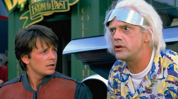 Michael J. Fox and Christopher Lloyd in the Back to the Future films.