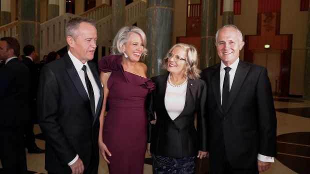 Opposition Leader Bill Shorten, Chloe Shorten, Lucy Turnbull and Prime Minister Malcolm Turnbull arrive for the ...