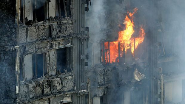 The burning Grenfell Tower in London.