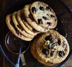 Thin and crispy choc-chip bikkies.