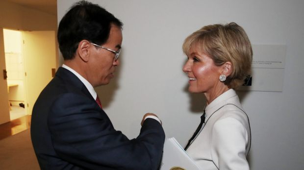 Foreign Minister Julie Bishop with Chinese ambassador Cheng Jingye. Former ambassador Geoff Raby says China policymaking ...