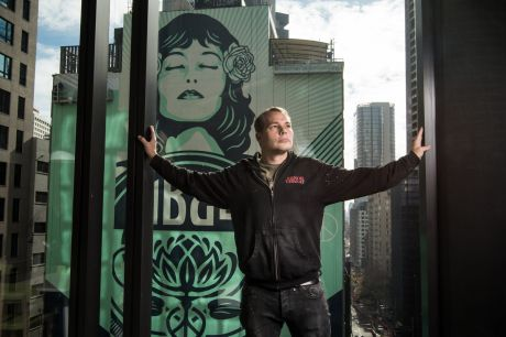 American artist Shepard Fairey in Sydney with The Peace Waratah, his largest-ever public art mural.