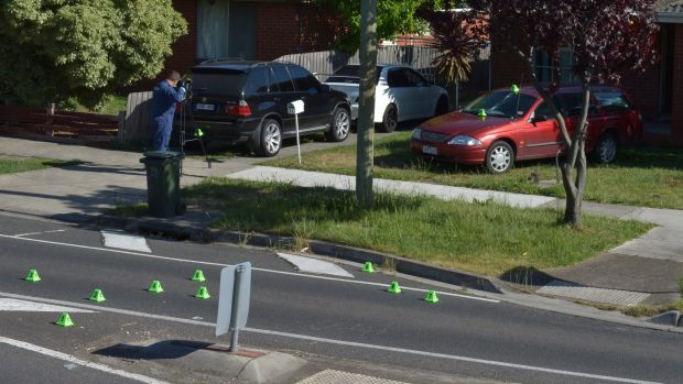 Police at the scene of a drive-by at a home in Thomastown where a 54-year-old-father was killed in a suspected case of ...