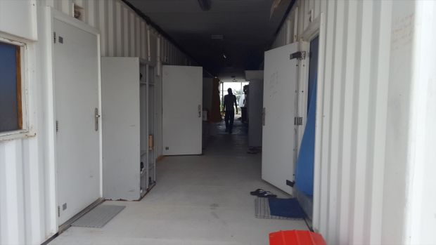 Shipping containers used as accommodation on Manus Island..