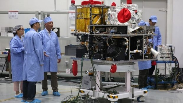 The 600-kilogram payload that is now onboard the Chinese Micius satellite producing pairs of quantum entangled photons.