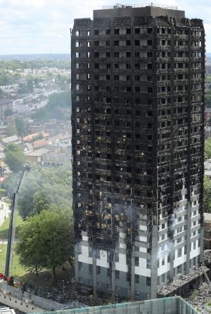 The blackened exterior of Grenfell Tower.