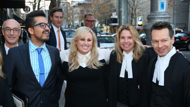 Rebel Wilson and her legal team outside the Victorian Supreme Court.