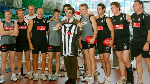 Rowan Atkinson, AKA Mr. Bean attends Collingwood football training at the Lexus centre in 2007.