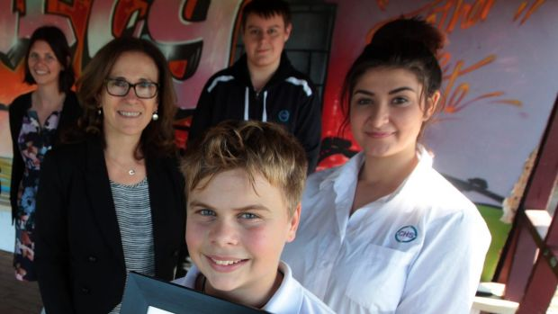 Campbell House School's assistant principal Kendell Neighbour and principal Marisa Pjanic, and students Dale Clarke, ...