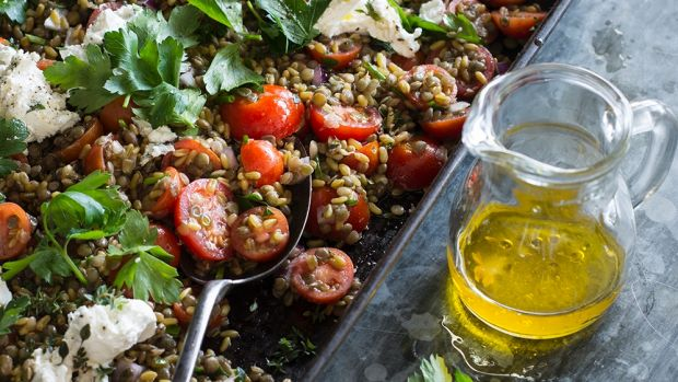 Green lentils with cherry tomatoes and marinated feta.