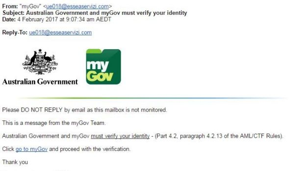 The 'MyGov' phishing email received by Melanie.
