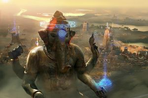 This city beneath a statue of Genesha appears identically in the game's art, trailer and early tech demo.