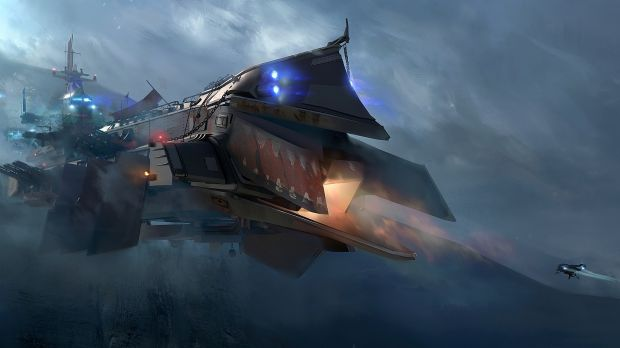 A smaller transport ship enters a players main base in this illustration.