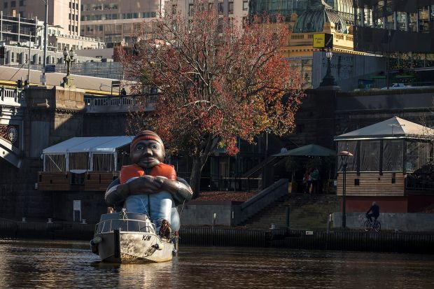 Inflatable Refugee arrived in Melbourne today, cruising along the Yarra River on June 17, 2017 in Melbourne.
