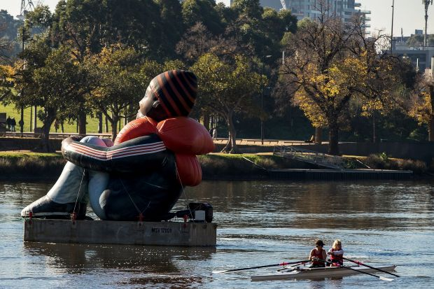 Inflatable Refugee, the enormous work touring the globe, arrived in Melbourne today.