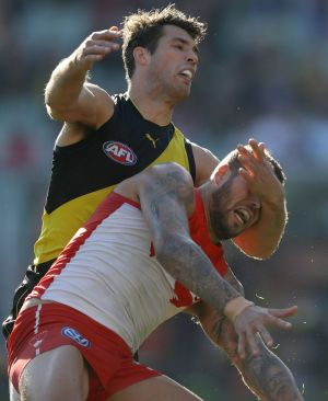 Richmond defender Alex Rance played a mighty game, including the battle with Lance Franklin.