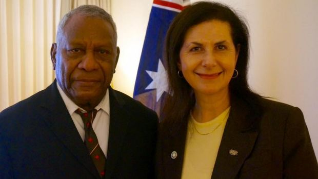 Vanuatu President Baldwin Lonsdale with Australian Senator Concetta Fierravanti-Wells in May 2016.