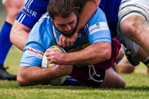 Ben Coutts comes close to the try line.