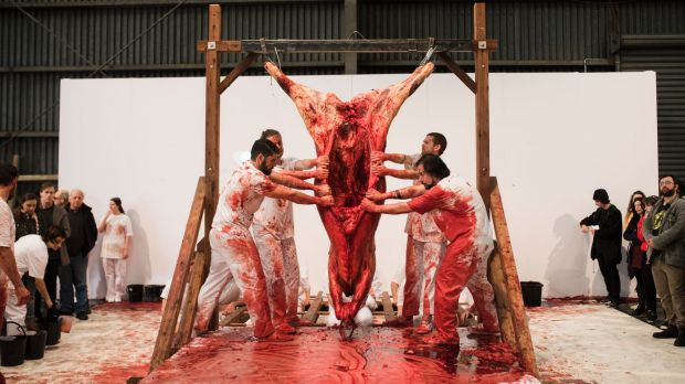 Hermann Nitsch and a team of performers staged their controversial 'action'.