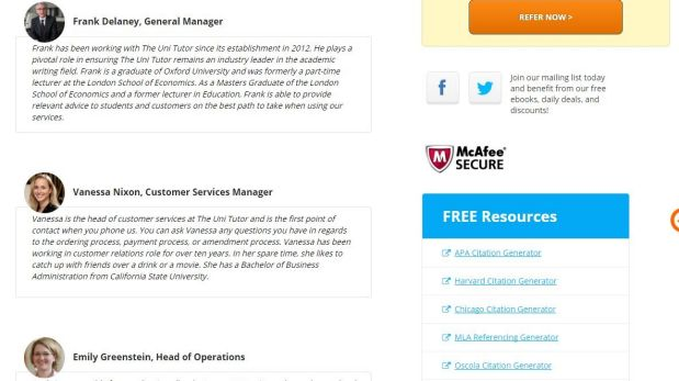 Staff profiles on the Uni Tutor website were taken down after Fairfax Media found they were fake.