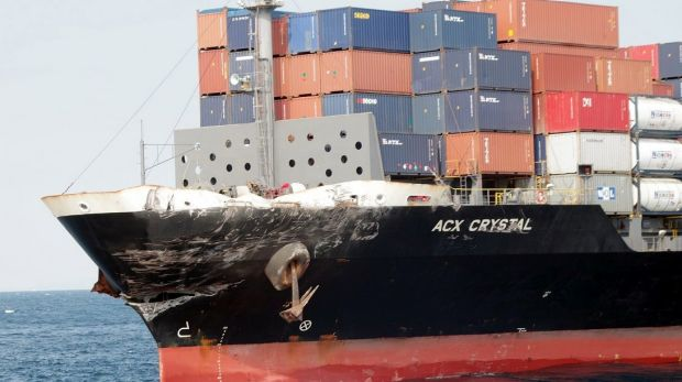 The damaged bow of the ACX Crystal, a Philippines-registered cargo ship which collided with the USS Fitzgerald.