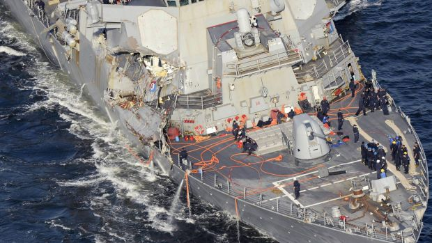The damaged USS Fitzgerald  collided with a merchant ship.