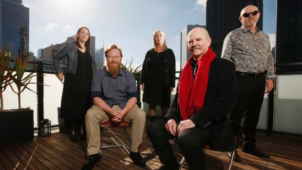 Miles Franklin Literary Award shortlist authors Emily Maguire, Ryan O'Neill, Josephine Wilson, Philip Salom and Mark O'Flynn.