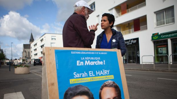 Sarah El Hairy, a candidate for La Republique En Marche, campaigns in Thouare-Sur-Loire, in Nantes.