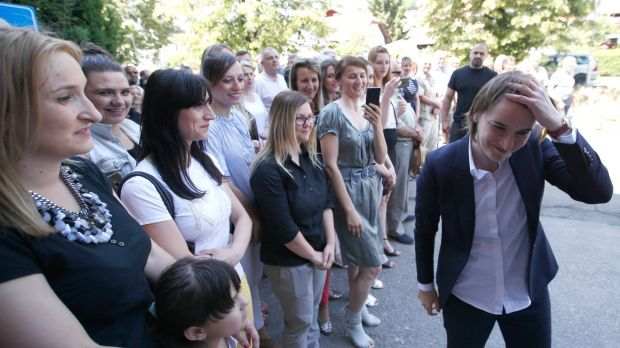 Ana Brnabic, right, nominated as the prime minister-designate,  arrives at the municipality building in Vrnjacka Banja, ...