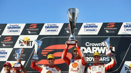 Podium standings (from left)  Scott McLaughlin, Fabian Coulthard, and Nick Percat in Darwin.