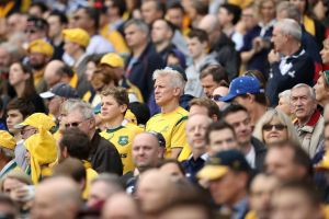 Tough times: Wallabies fans watch on during the loss to Scotland.