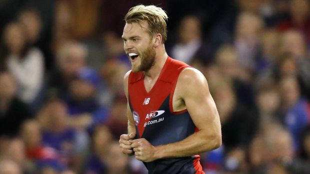 Finding form: Jack Watts during Melbourne's big win over the Western Bulldogs.