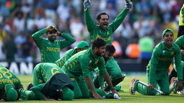 Prayers answered: Pakistan celebrate with a prayer after claiming the 2017 Champions Trophy against India.
